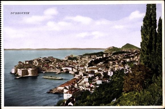 Ak Dubrovnik Kroatien, Totalansicht vom Ort, Hafenbucht