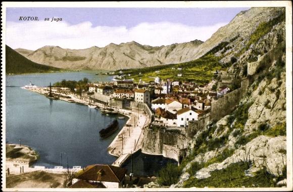 Ak Kotor Montenegro, Sa Juga, Vogelschau auf den Ort
