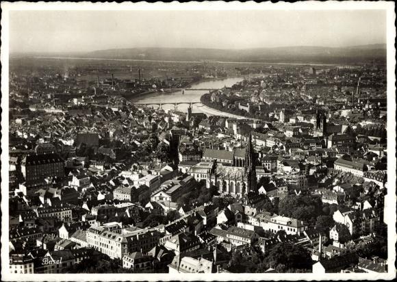 Ak Bâle Basel Stadt Schweiz, Fliegeraufnahme, Panorama der Stadt