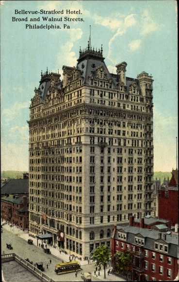 Ak Philadelphia Pennsylvania USA, Bellevue Stratford Hotel, Broad and Walnut Streets 0