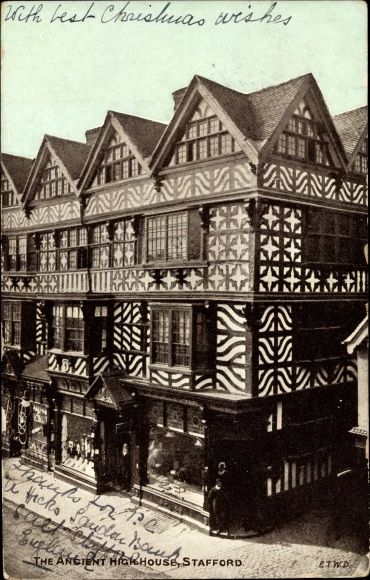 Ak Stafford West Midlands England, The Ancient High House, Altes Fachwerkhaus