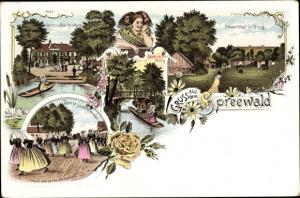 Litho Burg im Spreewald, Gasthof zur Bleiche, Frauen in Volkstrachten, Bauernhof