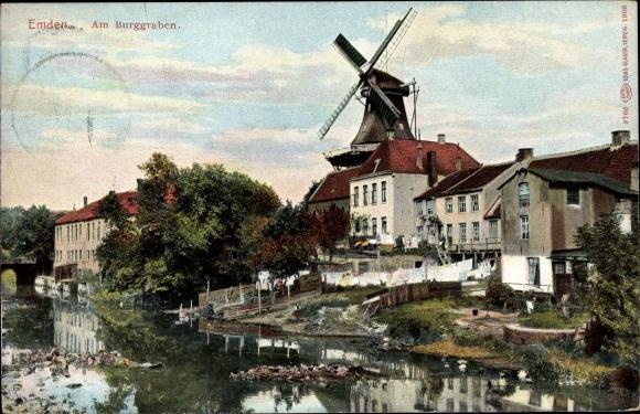 Ak Emden in Ostfriesland, Am Burggraben, Windmühle