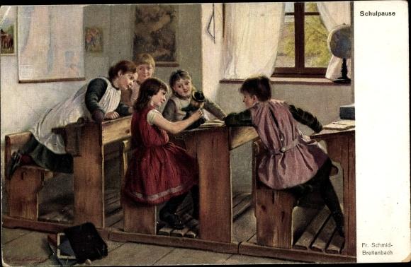 Künstler Ak Schmid Breitenbach, Fr., Schulpause, Mädchen in der Schule, Klassenzimmer, Globus