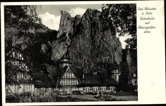 Ak Bad Münster am Stein Ebernburg Bad Kreuznach, Bäderhaus mit Rheingrafenstein