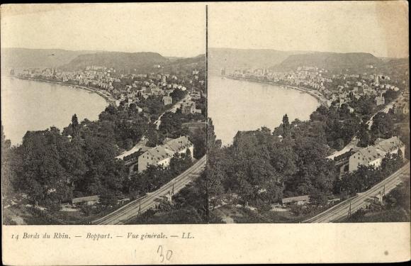 Stereo Ak Boppard am Rhein, Gesamtansicht