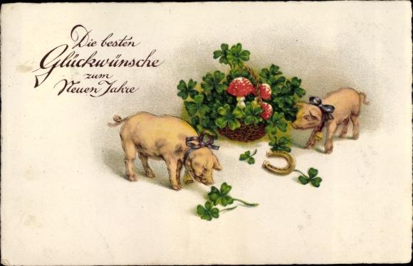 Ak Glückwunsch Neujahr, Schweine, Fliegenpilze, Hufeisen, Kleeblätter, EAS