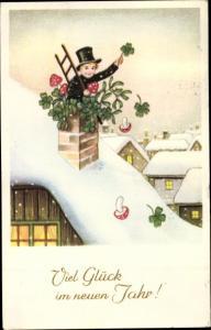 Ak Glückwunsch Neujahr, Schornsteinfeger, Kleeblätter, Fliegenpilze, Mistelzweige
