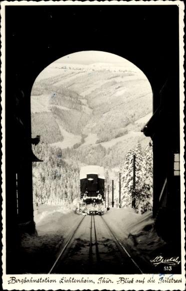 Ak Oberweißbach Thüringen, Bergbahnstation Lichtenhain, Oberweißbacher Bergbahn, Standseilbahn