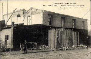 Ak Levallois Perret Hauts de Seine, Inondations de 1910, Maisons ecroulees rue de Courcelles