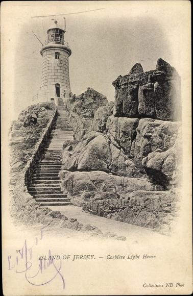 Ak Jersey Kanalinseln, Corbiere Lighthouse, Leuchtturm