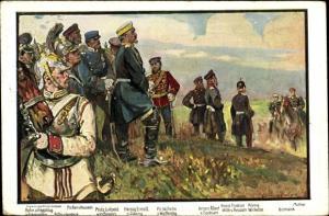 Künstler Ak Kronprinz Albert von Sachsen, Kronprinz Friedrich, Prinz Wilheln von Württemberg