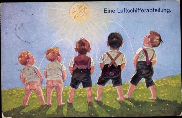 Künstler Ak Eine Luftschifferabteilung, Jungen beim Pinkeln, Sonne