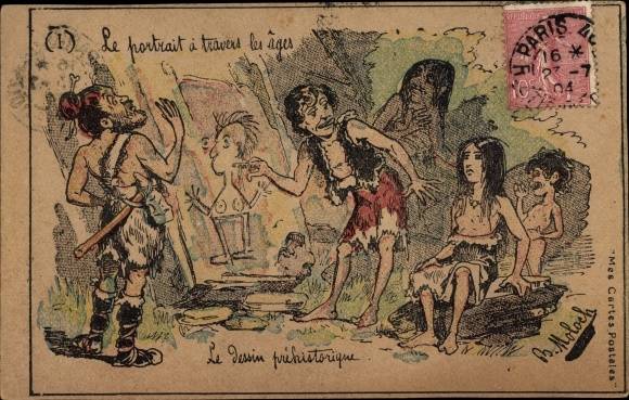 Künstler Ak Moloch, B., Le portrait a travers les ages, prehistorique, Höhlenmalerei