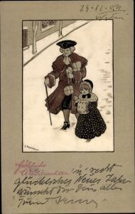 Künstler Ak Parkinson, Ethel, Frohe Weihnachten, Mann mit Mädchen