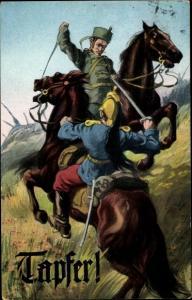 Künstler Ak Ulane im Kampf mit Dragoner zu Pferd, Tapfer, Propaganda