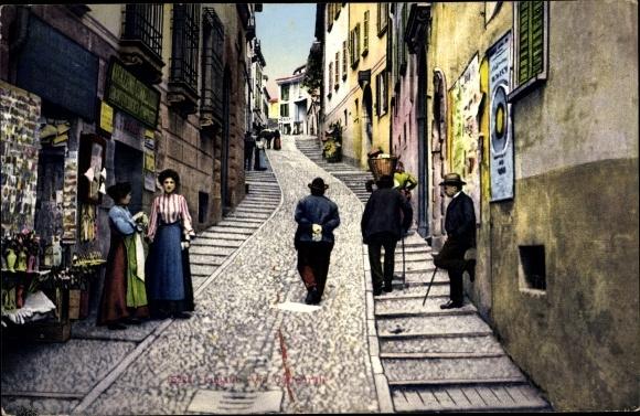Ak Lugano Kt. Tessin Schweiz, Via Cattedrale, Straßenpartie