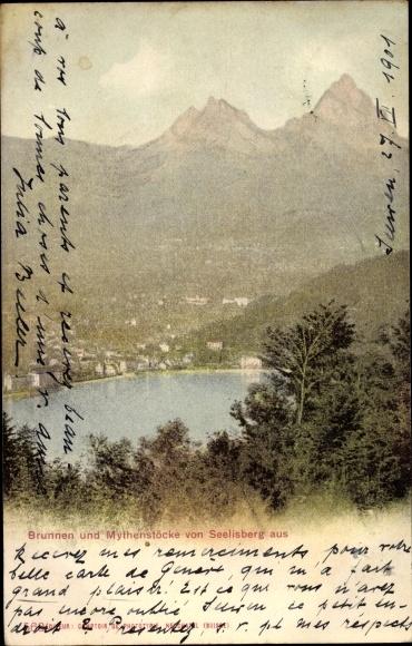 Ak Brunnen Kt. Schwyz Schweiz, Brunnen und Mythenstöcke von Seelisberg aus