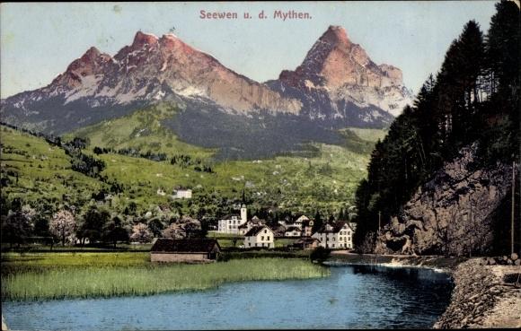 Ak Seewen Kt. Schwyz Schweiz, Panorama mit Mythen