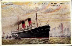 Künstler Ak Paquebot La Savoie, Dampfschiff, CGT, French Line