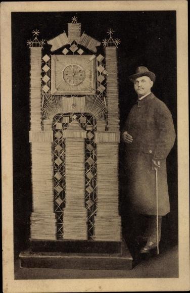 Ak Kunstuhr aus Strohhalmen, August Lehrke, Goslar, Portrait