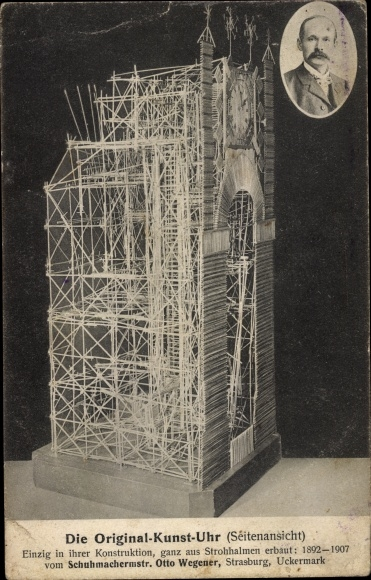 Ak Kunstuhr aus Strohhalmen, Otto Wegener, Strasburg, Portrait