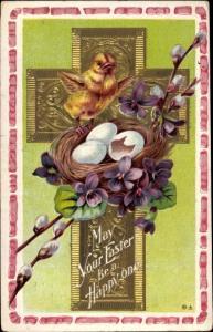 Präge Ak Glückwunsch Ostern, Ostereiernest, Küken, Weidenkätzchen