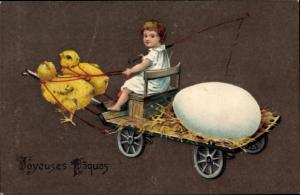 Ak Glückwunsch Ostern, Küken ziehen Ostereier, Mädchen
