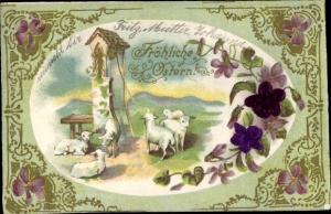 Präge Stoff Ak Glückwunsch Ostern, Lämmer, Wegkapelle
