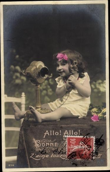 Ak Allo Allo, Bonne Année, Glückwunsch Neujahr, Mädchen am Telefon