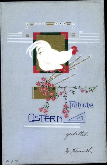 Präge Ak Glückwunsch Ostern, Henne, Weidenkätzchen