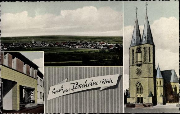 Ak Flonheim Rhein, Gesamtansicht, Kirche, Geschäft