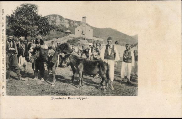 Ak Bosnien Herzegowina, Bosnische Bauerntypen, Esel