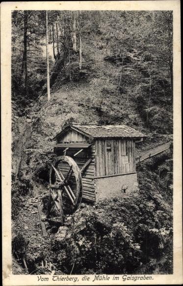 Ak Tirol, Vom Thierberg, die Mühle im Gaisgraben, Wassermühle