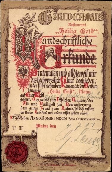 Künstler Ak Mainz in Rheinland Pfalz, Urkunde über Wein, Restaurant Heilig Geist, Gaudeamus
