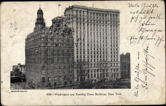 Ak New York City USA, Washington and Bowling Green Buildings