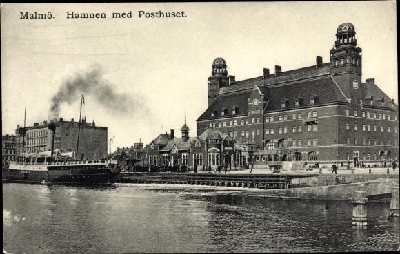 Ak Malmö Schweden, Hamnen med Posthuset