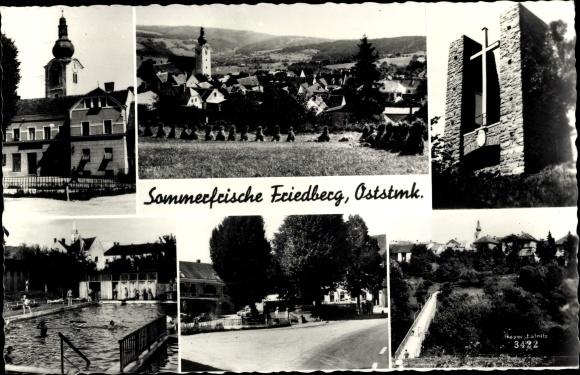 Ak Friedberg Steiermark, Teilansichten, Kreuz, Kirchturm, Freibad