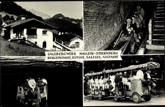 Ak Hallein Dürrnberg Salzburg, Salzbergwerk, Bergeinfahrt, Rutsche, Salzsee