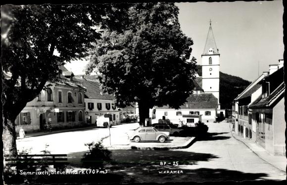 Ak Semriach Steiermark, Platz, Kirchturm