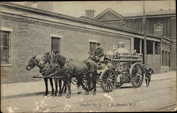 Ak Newark New Jersey USA, Engine No. 7 NFD, fire fighters