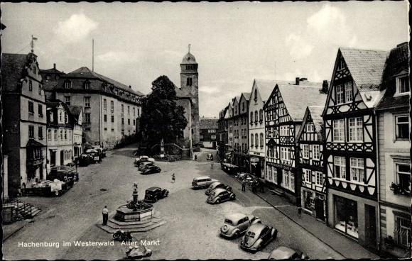 Ak Hachenburg im Westerwaldkreis Rheinland Pfalz, Alter Markt