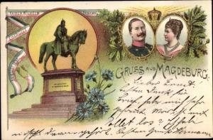 Litho Kaiser Wilhelm II., Kaiserin Auguste Viktoria, Kaiser Wilhelm Denkmal, Magdeburg an der Elbe