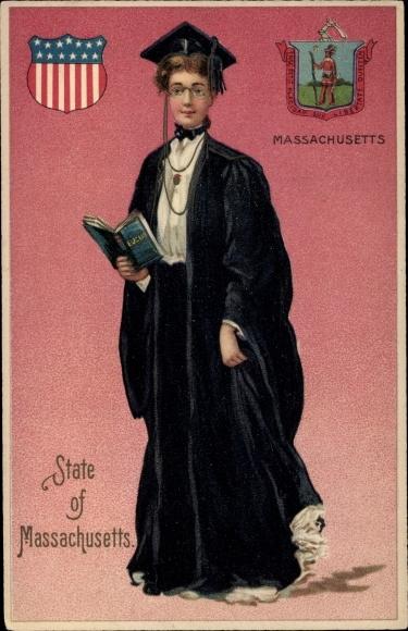 Präge Wappen Ak State of Massachusetts, Student, Absolvent, Eucus