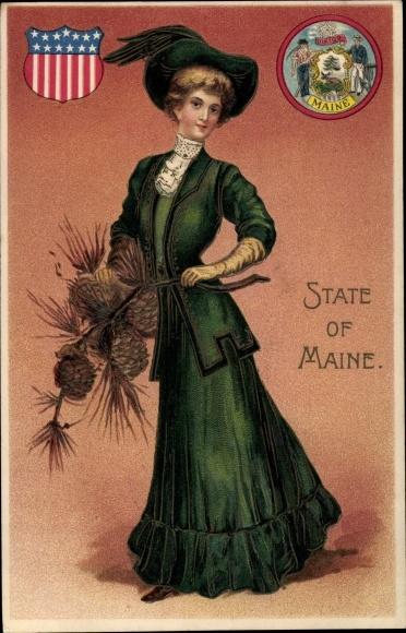 Präge Wappen Ak State of Maine, Frau mit Tannenzapfen