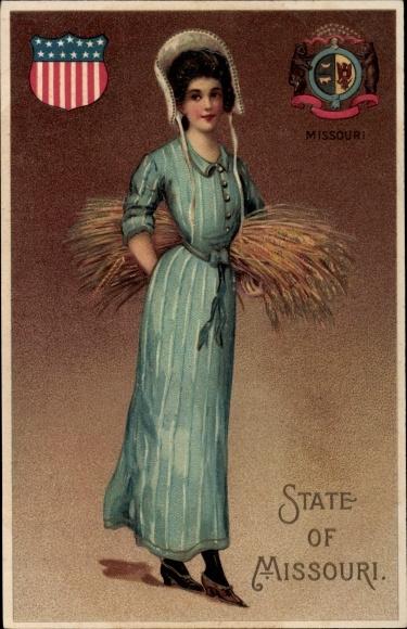 Präge Wappen Ak State of Missouri, Frau mit Heuballen