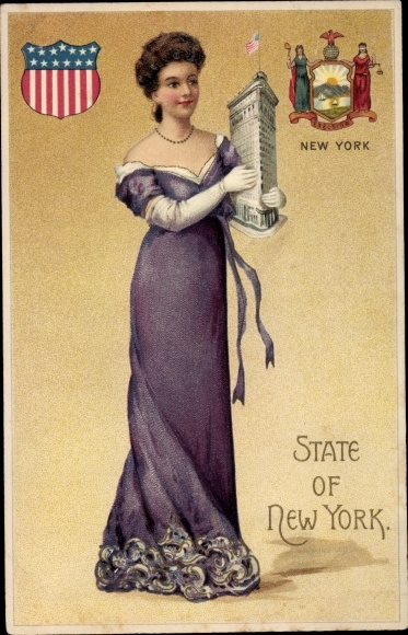 Präge Wappen Ak State of New York, Frau mit Miniatur, Flat Iron Building