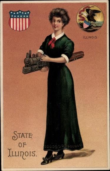 Präge Wappen Ak State of Illinois, Frau mit Modell Eisenbahn