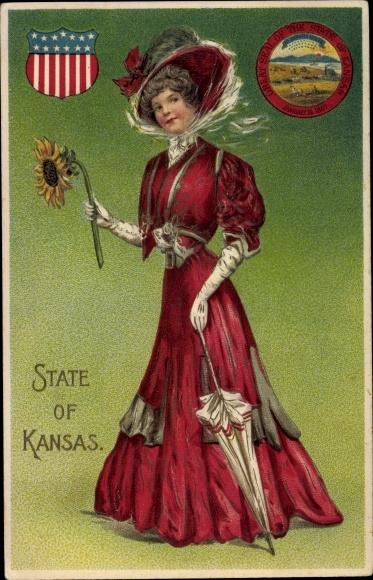 Präge Wappen Ak State of Kansas, Frau mit Sonnenblume