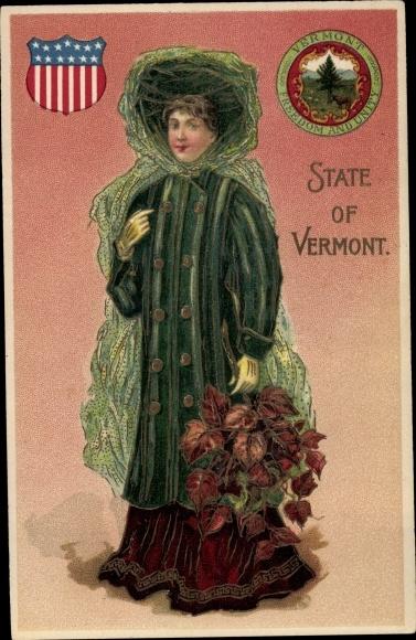 Präge Wappen Ak State of Vermont, Frau mit Weinblättern